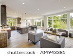 open plan kitchen equipped with ...   Shutterstock . vector #704943385