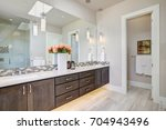 contemporary master bathroom... | Shutterstock . vector #704943496