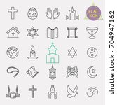 religion line icon set | Shutterstock .eps vector #704947162