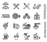 food and restaurant icons set.... | Shutterstock .eps vector #704956105