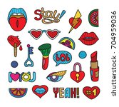 vector doodle girly clipart... | Shutterstock .eps vector #704959036