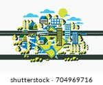 city woman running on the urban ... | Shutterstock .eps vector #704969716