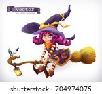witch. happy halloween  3d... | Shutterstock .eps vector #704974075