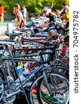 Small photo of ROTA, SPAIN - SEPT 04: Bicycles of the participants of the XXI triathlon Herbalife Villa de Rota on September 04 , 2016, in Rota , Spain