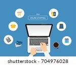 online shopping concept. using... | Shutterstock .eps vector #704976028