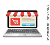 laptop with and screen buy.... | Shutterstock .eps vector #704977078
