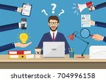 happy businessman with many... | Shutterstock .eps vector #704996158