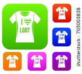 t shirt i love lgbt set icon in ... | Shutterstock .eps vector #705003838