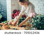 small business. male florist... | Shutterstock . vector #705012436