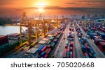 container ship in import export ... | Shutterstock . vector #705020668