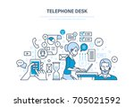 telephone desk. workplace ... | Shutterstock .eps vector #705021592