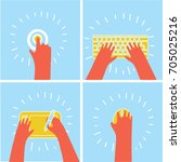 vector cartoon funny set of... | Shutterstock .eps vector #705025216