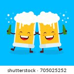 two cute happy smiling dancing... | Shutterstock .eps vector #705025252