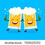 two cute happy smiling dancing... | Shutterstock .eps vector #705025252