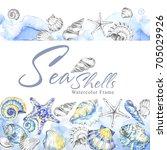 hand painted seashells... | Shutterstock . vector #705029926