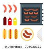 spit for hot dogs vector flat... | Shutterstock .eps vector #705030112