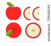 red apple with a leaf top view. ... | Shutterstock .eps vector #705030142