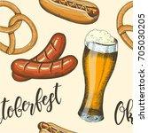 oktoberfest celebration pattern ... | Shutterstock . vector #705030205