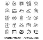gifts line icons. set of... | Shutterstock .eps vector #705032308