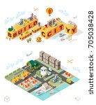 build your own city . set of... | Shutterstock .eps vector #705038428