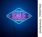 retro sale neon sign. vector... | Shutterstock .eps vector #705047362