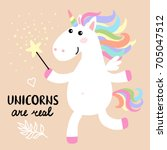 cute magical white unicorn with ... | Shutterstock . vector #705047512