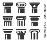 ancient columns icon set. vector | Shutterstock .eps vector #705048802