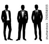 wedding men's suit and tuxedo.... | Shutterstock .eps vector #705058555