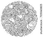 cartoon cute doodles hand drawn ...   Shutterstock .eps vector #705060805