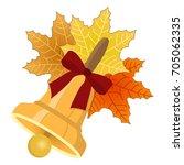 gold retro school bell with... | Shutterstock .eps vector #705062335