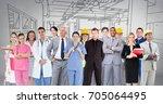 digital composite of group of... | Shutterstock . vector #705064495