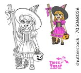 cute girl in witch costume... | Shutterstock .eps vector #705068026