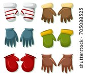 winter gloves and mittens set... | Shutterstock .eps vector #705088525