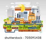 flat industrial landscape. the... | Shutterstock .eps vector #705091438