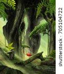 fantasy jungle landscape | Shutterstock . vector #705104722