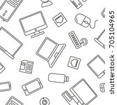 seamless pattern with computer... | Shutterstock .eps vector #705104965