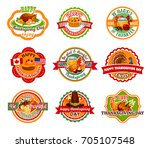 thanksgiving day label set of... | Shutterstock .eps vector #705107548