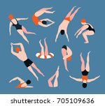 summer  set with swimming... | Shutterstock .eps vector #705109636