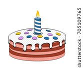 birthday cake with candle pop... | Shutterstock .eps vector #705109765