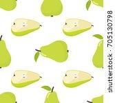 seamless pattern of pear ... | Shutterstock .eps vector #705130798
