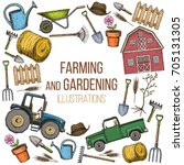 set of farming equipment icons. ... | Shutterstock .eps vector #705131305