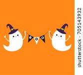 flying ghost spirit holding...   Shutterstock .eps vector #705143932