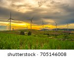 wind generators turbines at... | Shutterstock . vector #705146008