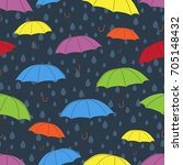 umbrellas seamless pattern ... | Shutterstock .eps vector #705148432