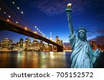 spectacular view of manhattan... | Shutterstock . vector #705152572