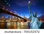 spectacular view of manhattan... | Shutterstock . vector #705152572