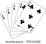 flush clubs ace to five | Shutterstock .eps vector #70515430