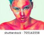 body art woman face portrait ... | Shutterstock . vector #705163558