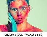body art woman face portrait ... | Shutterstock . vector #705163615