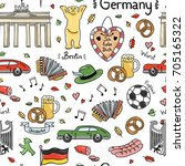 germany symbols vector seamless ... | Shutterstock .eps vector #705165322